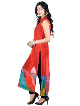 Vivaa Georgette Printed Kurti - Red - VLK-27