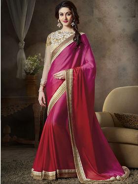 Nanda Silk Mills Latest Ethnic Pure Satin Georgette Pink Color Saree Designer Party Wear Saree_Vr-1905