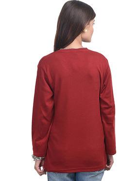 Eprilla Spun Cotton Plain Full Sleeves Sweater  -eprl36