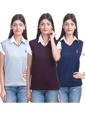 Pack of 3 Eprilla Spun Cotton Plain Sleeveless Sweaters -eprl13