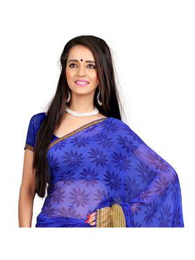 Khushali Fashion Chiffon Saree(Beige,Blue)_YNADS20132