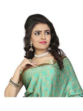 Khushali Fashion Silk Crepe Jacquard Saree(Rama Green,Beige)_YNCHN20539