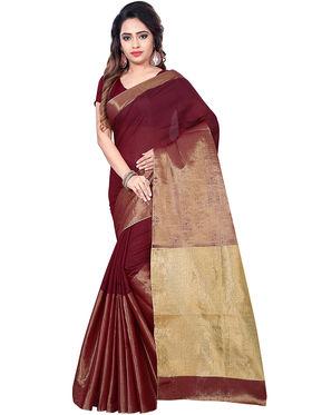 Zoom Fabrics Plain Cotton Silk Maroon & Gold Saree -Zm4017B