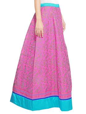 Pink Cotton Block Print Skirt_AY-SKI-RG7-614