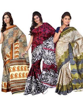 Pack of 3 Florence Printed Art Silk Saree  -fs17
