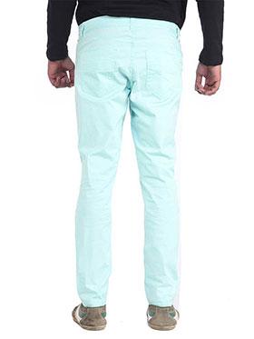 imFab Plain Cotton Chinos for Men -Sea Green