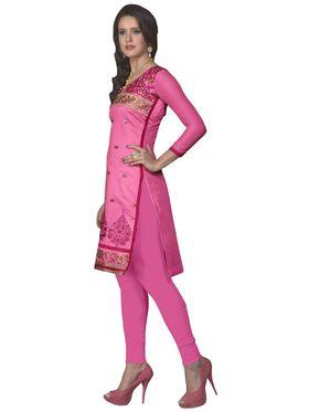 Khushali Fashion Cotton Embroidered Dress Material - Pink - PARI41005