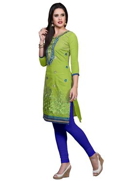 Khushali Fashion Cotton Embroidered Dress Material - Parrot Green - PARI41006