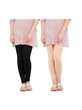 Pack of 2 Oh Fish Solid Cotton Stretchable Leggings -zwe55