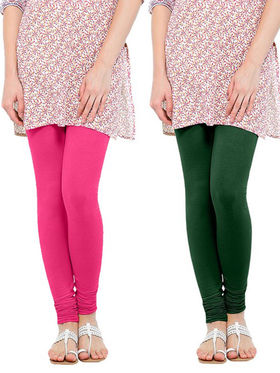 Pack of 2 Oh Fish Solid Cotton Stretchable Leggings -zwe23