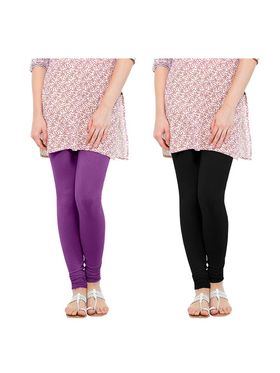 Pack of 2 Oh Fish Solid Pure Cotton Stretchable Leggings -zwe32