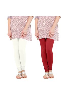 Pack of 2 Oh Fish Solid Cotton Stretchable Leggings -zwe48