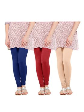 Pack of 3 Oh Fish Solid Cotton Stretchable Leggings -zwe81
