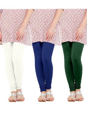 Pack of 3 Oh Fish Solid Cotton Stretchable Leggings -zwe74