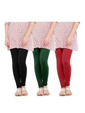 Pack of 3 Oh Fish Solid Cotton Stretchable Leggings -zwe69