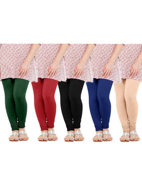 Pack of 5 Oh Fish Solid Pure  Cotton Stretchable Leggings -zwe05