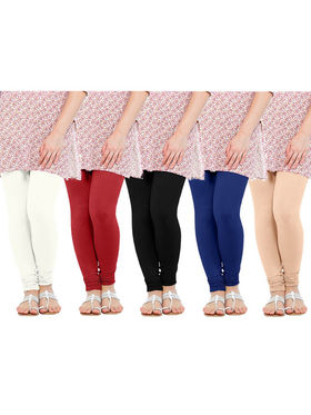 Pack of 5 Oh Fish Solid Pure Cotton Stretchable Leggings -zwe03