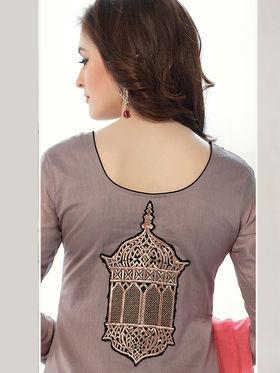 Viva N Diva Banarasi Chanderi Embroidered Dress Material - Grey - Color-Blossom-1008
