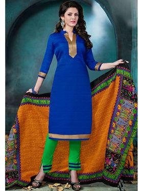Viva N Diva Bhagalpuri  Printed Dress Material - Blue - Tulip-211