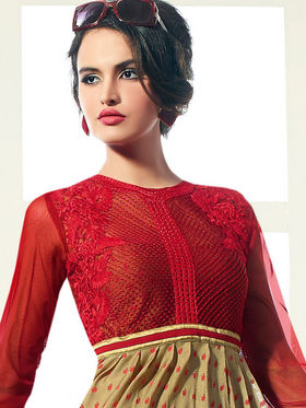 Viva N Diva Pure Viscose Butti Embroidered Kurti - Beige & Red