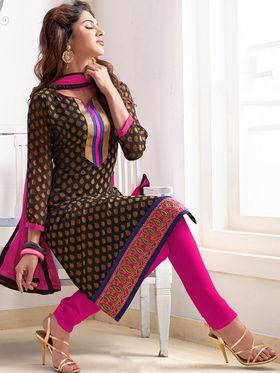 Viva N Diva Pure Jacquard Embroidered Dress Material - Black