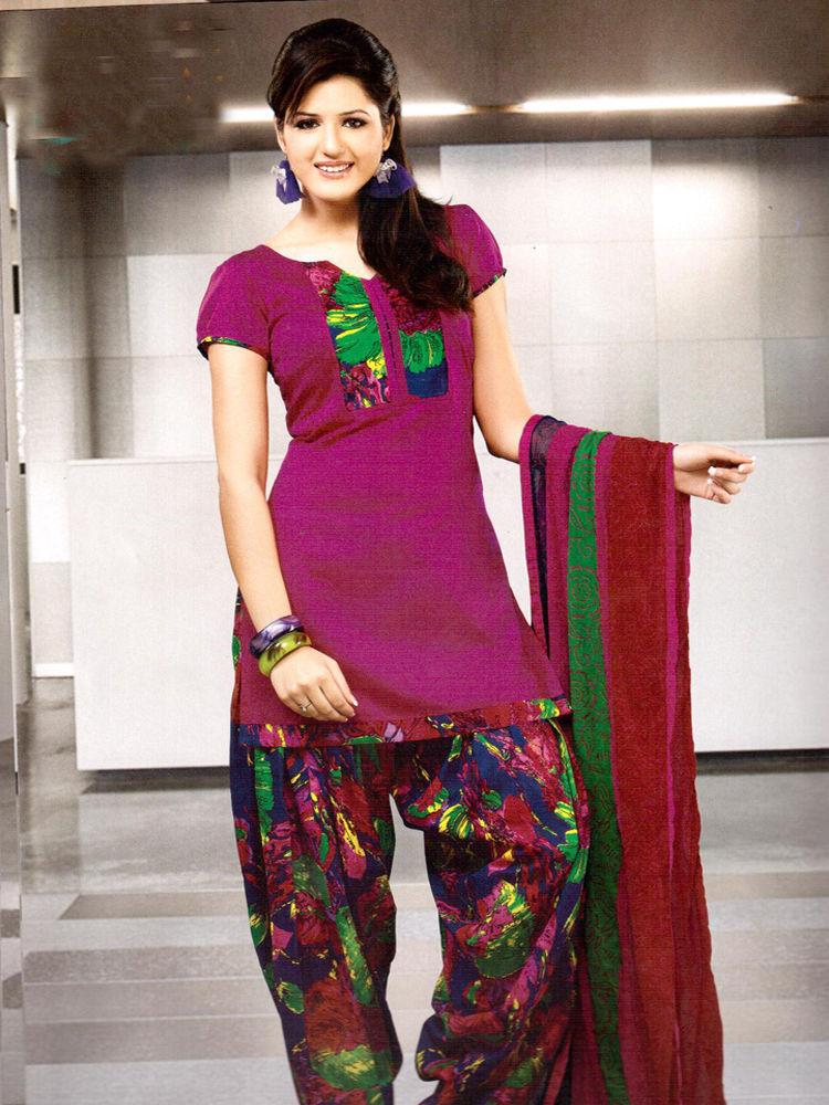 Buy Adah Fashions Designer Cotton-Silk Dress Material - Purple ...