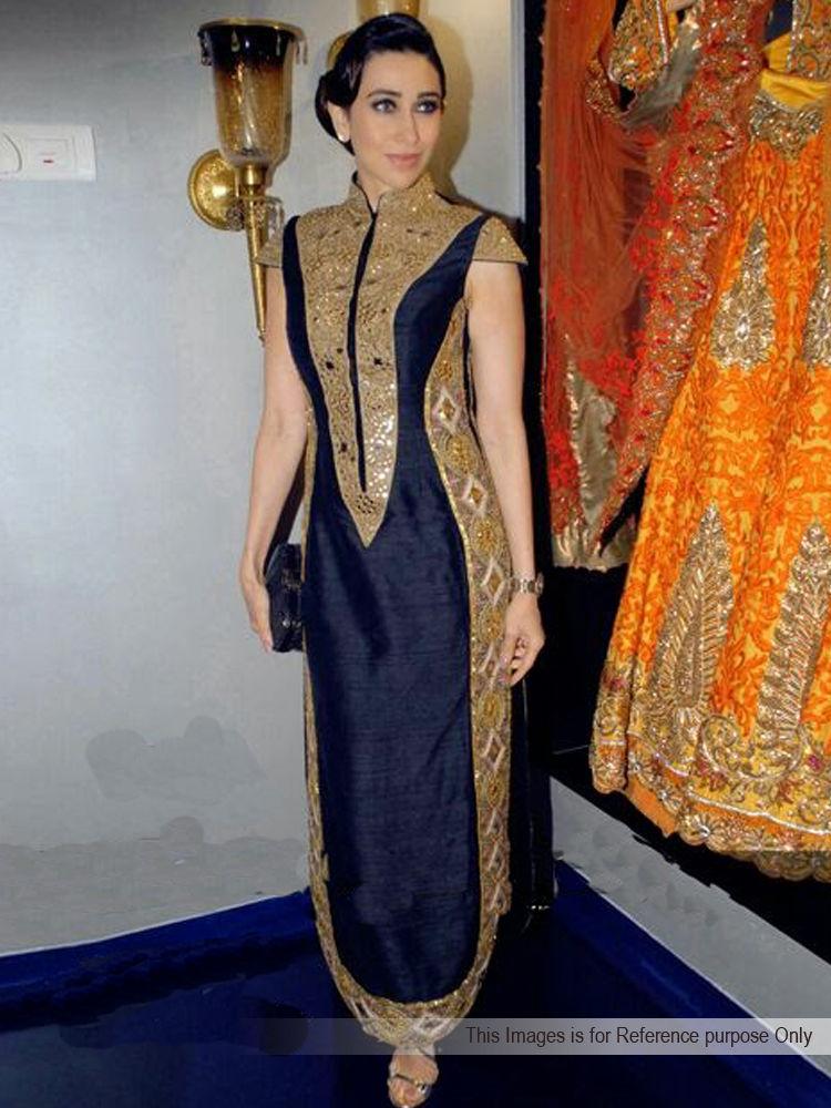 Buy Arisha Silk Embroidered Semi-Stitched Anarkali Suit - Navy ...