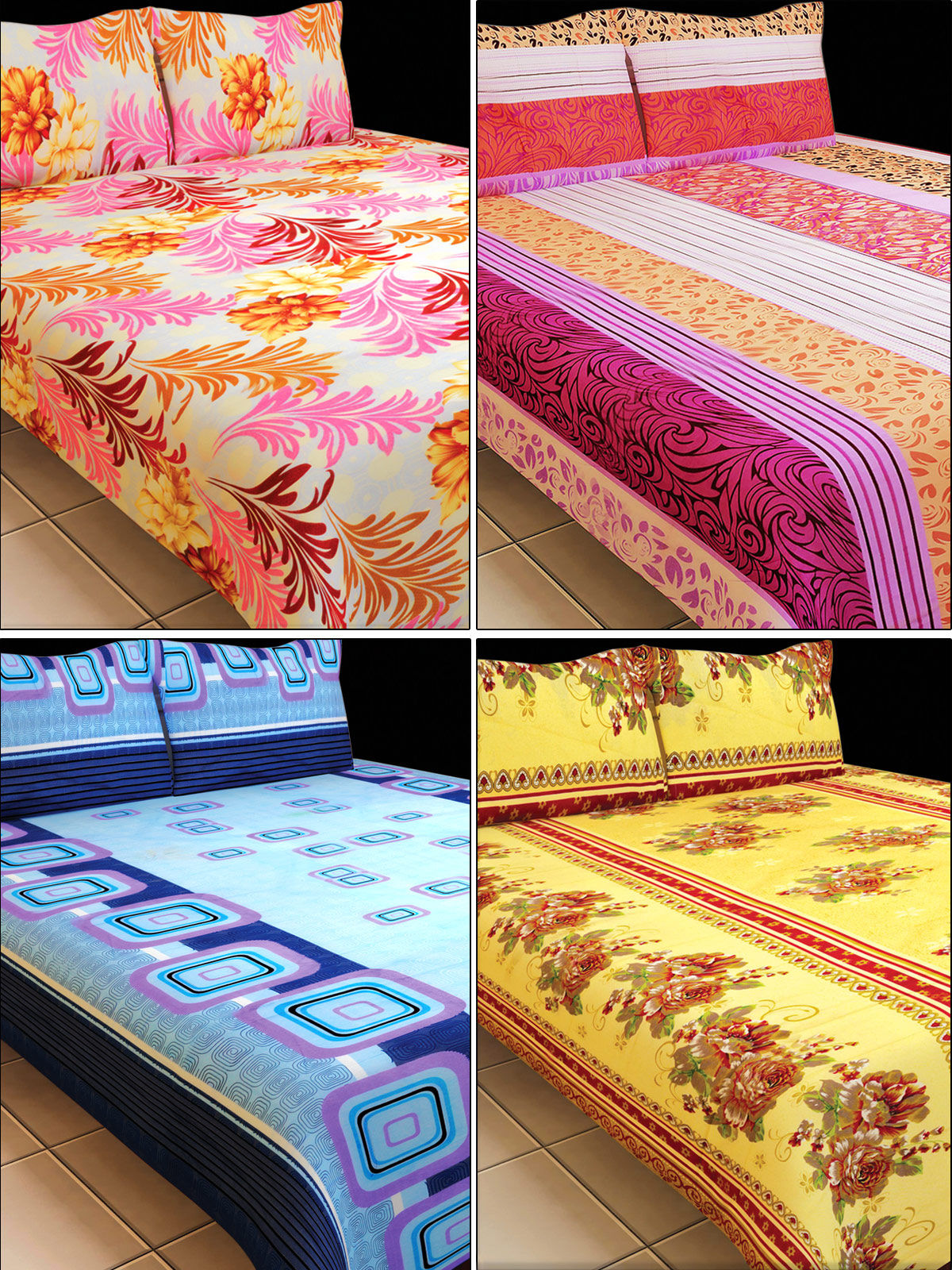 Luxury Queen Fab 4 Double Bedsheets (4BS1)