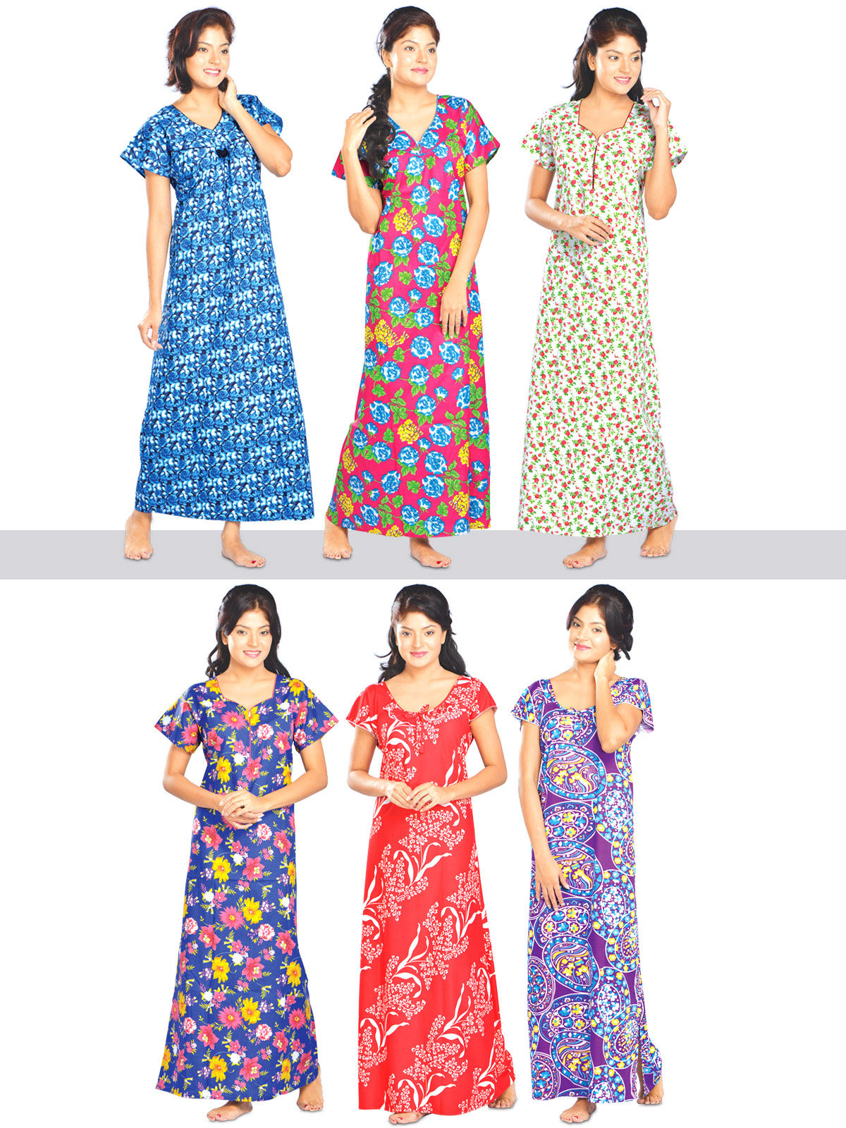 0081663838 Buy Set of 6 Cotton Nighties Online at Best Price in India on Naaptol.com