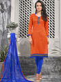 Viva N Diva Printed Bhagalpuri Unstitched Orange Dress Material -vd053