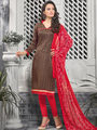 Viva N Diva Printed Bhagalpuri Unstitched Brown Dress Material -vd058
