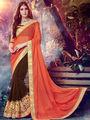 Indian Women Embroidered Georgette Orange & Brown Designer Saree -MG12317