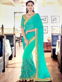 Indian Women Embroidered Cyan Satin Chiffon Saree -MG12414