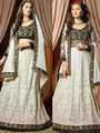 Viva N Diva Embroidered 2 in 1  Lehenga cum Anarkali Suit  - Off White & Black