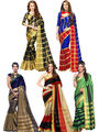Pack of 5 Bhuwal Fashion Plain Tussar Silk Multicolor Sarees -Combo262