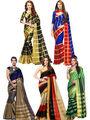 Pack of 5 Bhuwal Fashion Plain Tussar Silk Multicolor Sarees -Combo262