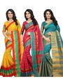 Combo of 3 Bhuwal Fashion Cotton Silk Sarees_cm16 - Multicolor