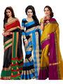 Combo of 3 Bhuwal Fashion Cotton Silk Sarees_cm18 - Multicolor
