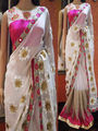 Thankar Multy Work Banglori Net Saree _ White & Pink