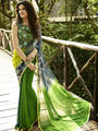 Thankar Georgette Printed Saree _ Green