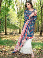 Thankar Printed Cotton Dress Material_Tkr01 - Navy Blue & White