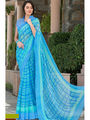 Viva N Diva Printed Georgette Blue Saree -vd090