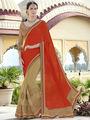 Indian Women Plain Georgette Orange and Beige Designer Saree -RA21069
