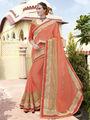 Indian Women Embroidered Chiffon Orange Designer Saree -RA21070