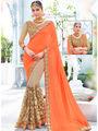 Indian Women Embroidered Georgette & Jacquard Orange & Beige Designer Saree -Ra21152