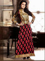 Adah Fashions Brasso Embroidered Semi Stitched Suits - Black - 563-7007