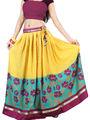 Admyrin Cotton Printed Skirt - Yellow & Dark Aqua_RG4-539