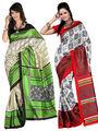 Pack of 2 Carah Art Silk Printed Saree - Multicolor - CRH-N236