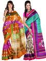 Pack of 2 Carah Art Silk Printed Saree - Multicolor - CRH-N238