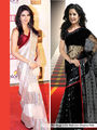 Pack Of 2 Arisha Net With Inner Embroidered Saree - Black & Beige